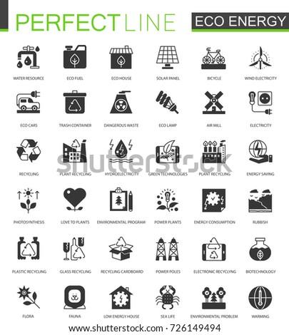 Black classic eco renewable energy. Green technology icons set.
