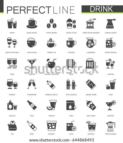 Black classic web drinks icons set.