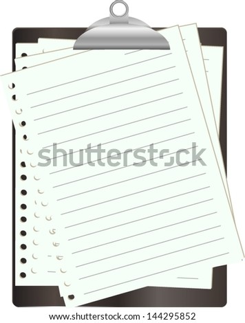 Black clipboard with white paper on white