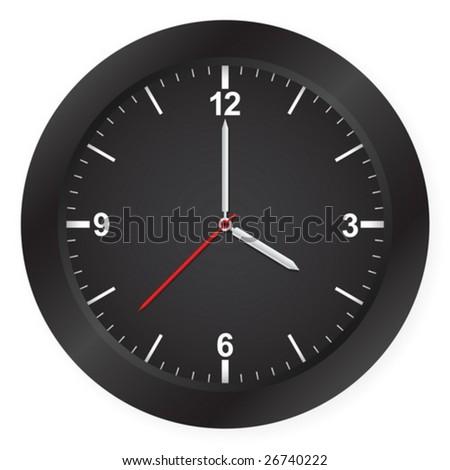 Black clock isolated on white background. Vector illustration.