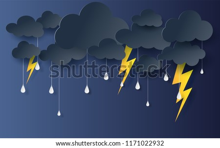 Black Cloud and Lightning rainy season on dark background.Thunder storm effects  flash outdoors.Creative origami paper cut and craft style for card.Minimal graphic rain on sky vector.illustration