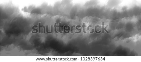 black cloud or storm cloud on white background, vector on cover background