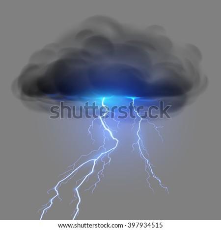 Black cloud with lightning