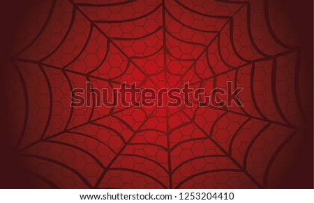 Black Cobweb on Red background. Vector eps illustration Spider happy halloween party fun funny spooky logo fest creepy horror insect hush dia 31 october fest Spiderman hallow Webbing line pattern