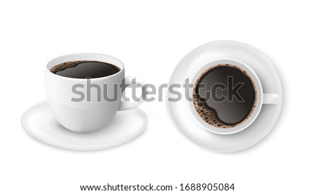 Black coffee in white cup isolated on white background seen from top and side view, realistic cafe mug and saucer set with hot drink - vector illustration