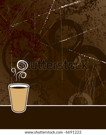 black coffee to go on coffee colored grunge background