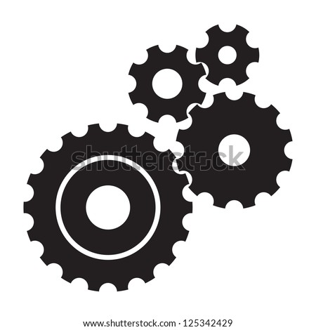 black cogs  gears  on white