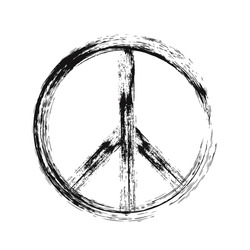 Black color of Peace symbol with grunge brush paint isolate on white - Vector EPS 10
