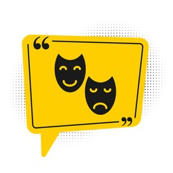 Black Comedy and tragedy theatrical masks icon isolated on white background. Yellow speech bubble symbol. Vector