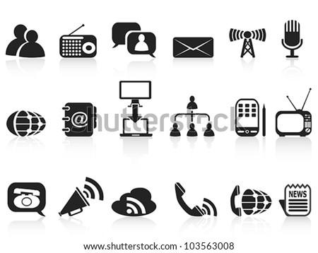 black communication icons set