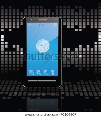 black communicator on black background. vector