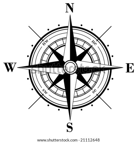 Black compass rose  isolated on white - vector