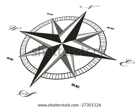 Nautical Compass Black And White