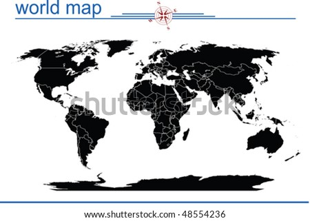world map with countries and oceans. world map with countries and