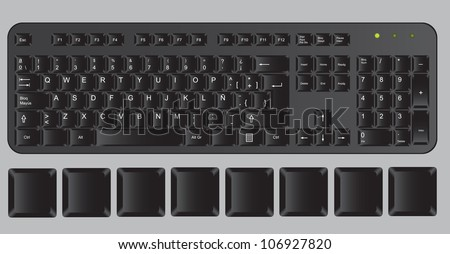 Black computer keyboard on gray background, vector illustration
