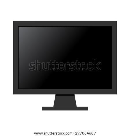 black computer monitor flat
