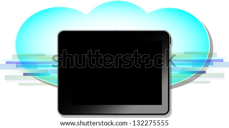 Black computer tablet with blue wireless cloud symbol