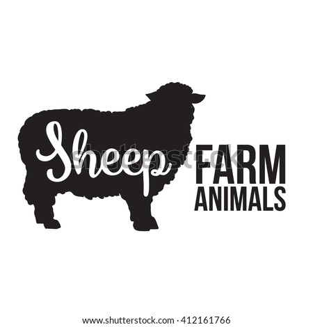 Black contour farm animal with a white lettering  inscription inside, Logo sheep vector animal, outline for product, vector illustration contour farming sheep with lettering on mutton meat, sheep