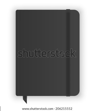Black copybook moleskin cover with elastic band and bookmark. Vector illustration