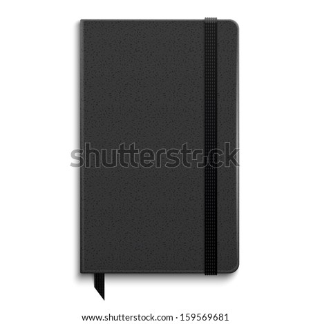 Black copybook with elastic band bookmark. Vector illustration.