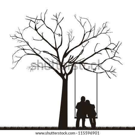 black couple under tree over