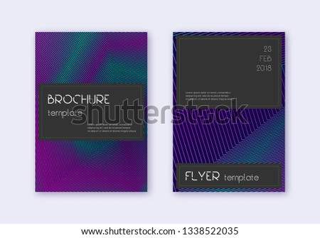 Black cover design template set. Neon abstract lines on dark blue background. Amazing cover design. Cute catalog, poster, book template etc.