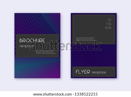 Black cover design template set. Neon abstract lines on dark blue background. Amazing cover design. Amusing catalog, poster, book template etc.