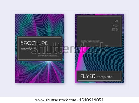 Black cover design template set. Neon abstract lines on dark blue background. Amazing cover design. Awesome catalog, poster, book template etc.