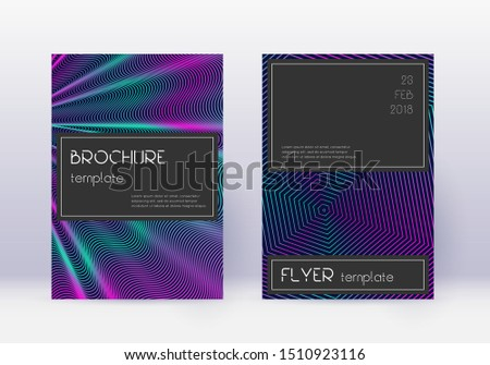 Black cover design template set. Neon abstract lines on dark blue background. Amazing cover design. Brilliant catalog, poster, book template etc.