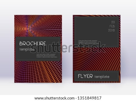 Black cover design template set. Orange abstract lines on wine red background. Amazing cover design. Fancy catalog, poster, book template etc.