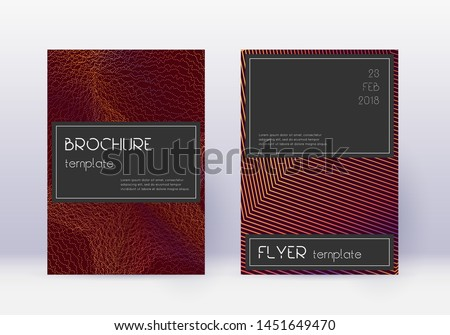 Black cover design template set. Orange abstract lines on wine red background. Amazing cover design. Eminent catalog, poster, book template etc.