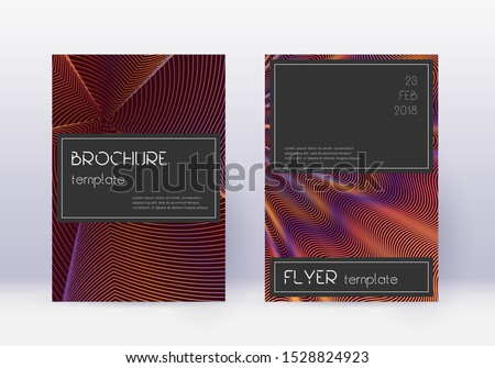 Black cover design template set. Orange abstract lines on wine red background. Amazing cover design. Exotic catalog, poster, book template etc.