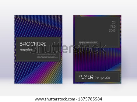 Black cover design template set. Rainbow abstract lines on dark blue background. Amazing cover design. Outstanding catalog, poster, book template etc.