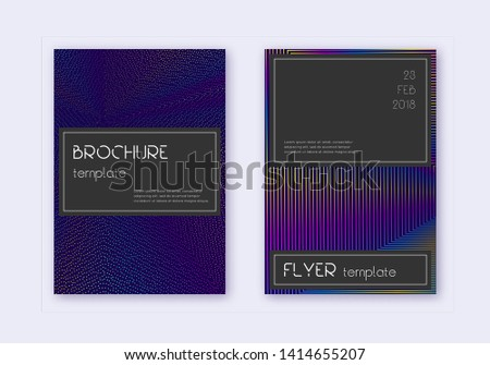 Black cover design template set. Rainbow abstract lines on dark blue background. Amazing cover design. Original catalog, poster, book template etc.