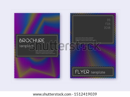 Black cover design template set. Rainbow abstract lines on dark blue background. Amazing cover design. Majestic catalog, poster, book template etc.