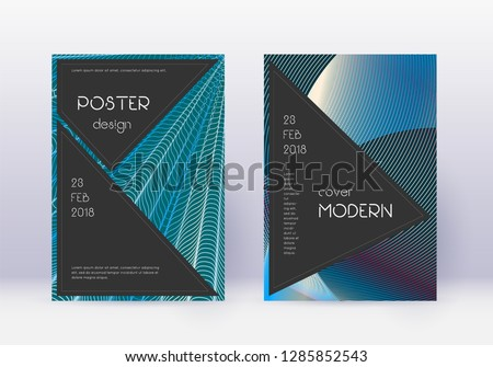Black cover design template set. Red abstract lines on white blue background. Alive cover design. Amazing catalog, poster, book template etc.