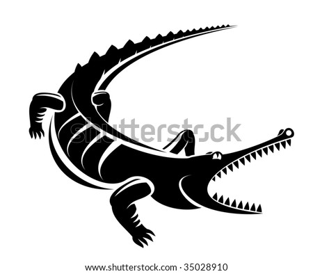 Black crocodile silhouette isolated on white, for mascot or tattoo design. Croc logo, crocodile logo, reptile animal logo