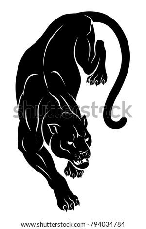 black crouching panther vector
