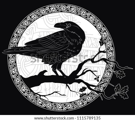 Black crow sitting on a branch of an oak tree, and Scandinavian runes, carved into stone, isolated on black, vector illustration