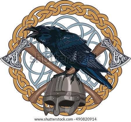 black crow sitting on a viking