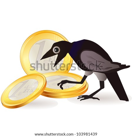 black crow with euro coins