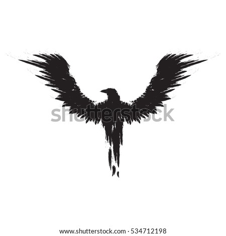 black crow with the wings