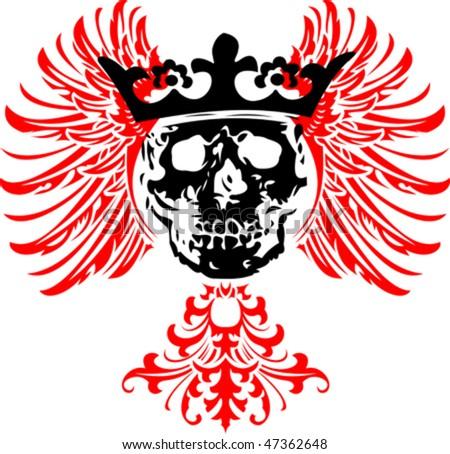 Black Crowned Skull on Red Wings. Vector Illustration.