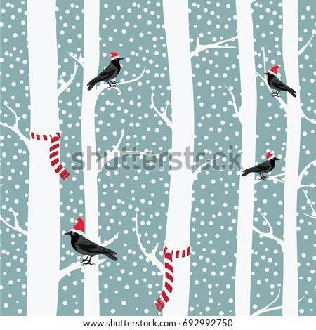 black crows with christmas hats