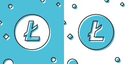 Black Cryptocurrency coin Litecoin LTC icon isolated on blue and white background. Physical bit coin. Digital currency. Altcoin symbol. Blockchain based secure crypto currency. Vector Illustration
