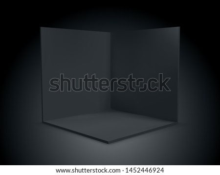 Black cube box 3D, corner room inside interior cross section. Vector black transparent empty geometric square 3D cube box inside template