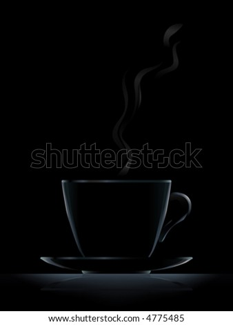 """Black cup with black coffee on black background (another version """"White Coffee Cup"""" is in my gallery)"""