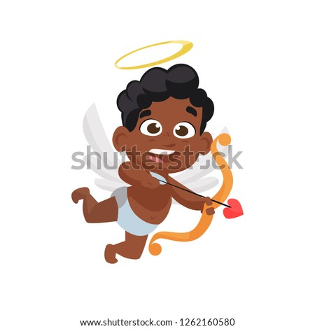 Black cupid shooting arrow. Happy, African, archery. Can be used for topics like Valentines day, love, amour