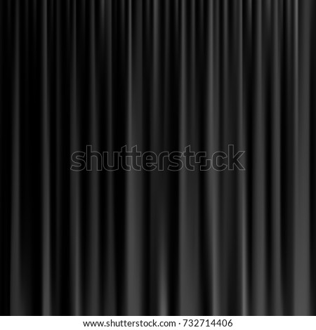 Black curtain background. Vector realistic black curtain.