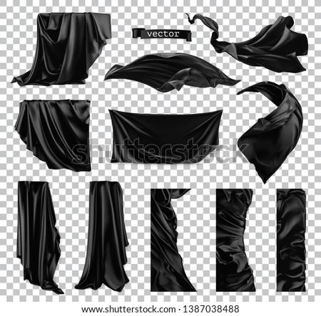 Black curtain vectorized image. Drapery fabric 3d realistic vector set